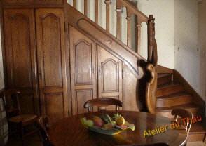 Escalier sculpte - Rangement sous escalier tournant ...